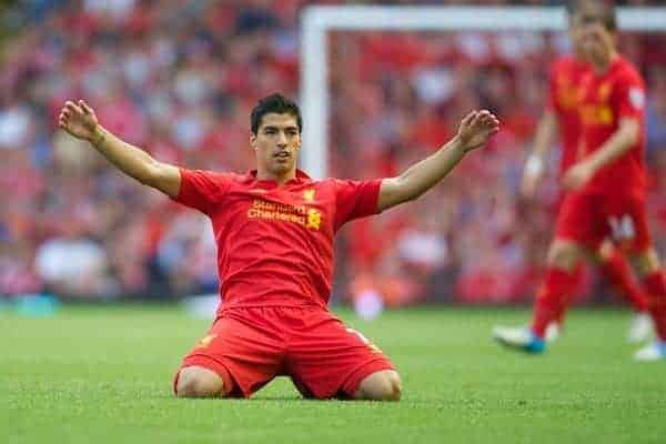 LIVERPOOL, ENGLAND - Sunday, August 26, 2012: Liverpool's Luis Alberto Suarez Diaz in action against Manchester City during the Premiership match at Anfield. (Pic by David Rawcliffe/Propaganda)