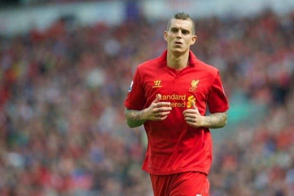 LIVERPOOL, ENGLAND - Sunday September 2, 2012: Liverpool's Daniel Agger in action against Arsenal during the Premiership match at Anfield. (Pic by David Rawcliffe/Propaganda)