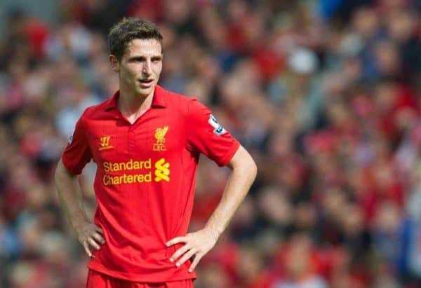 LIVERPOOL, ENGLAND - Sunday September 2, 2012: Liverpool's Joe Allen in action against Arsenal during the Premiership match at Anfield. (Pic by David Rawcliffe/Propaganda)
