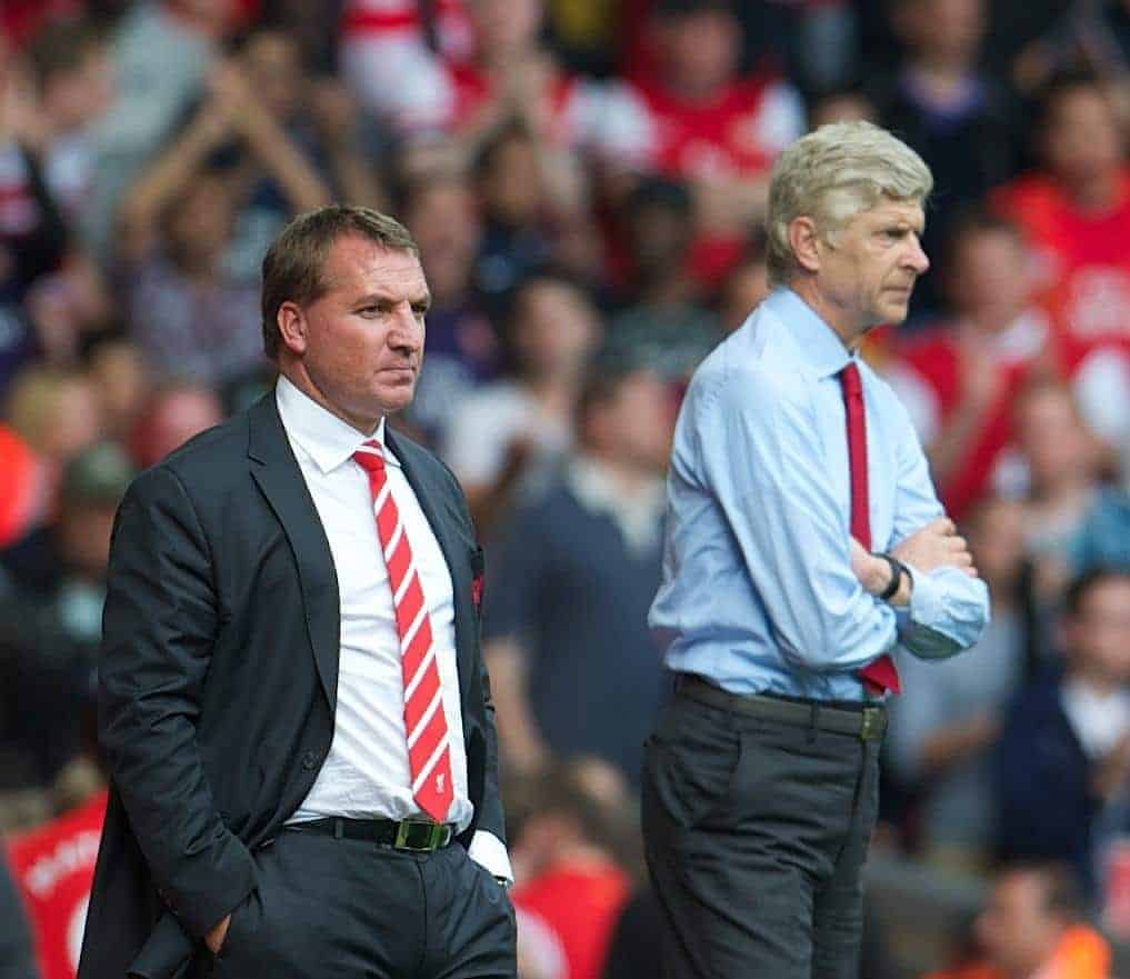 LIVERPOOL, ENGLAND - Sunday September 2, 2012: Liverpool's manager Brendan Rodgers and Arsenal's manager Arsene Wenger during the Premiership match at Anfield. (Pic by David Rawcliffe/Propaganda)