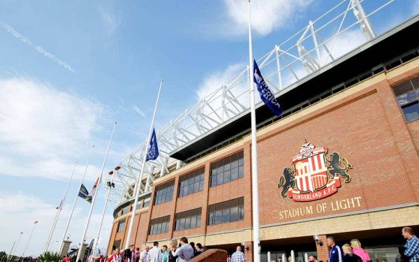 SUNDERLAND, ENGLAND - Saturday, September 15, 2012: Flags fly at hale-mast outside Sunderland's Stadium of Light before the Premiership match against Liverpool as a mark of respect for the 96 victims of the Hillsborough Stadium Disaster. (Pic by Vegard Grott/Propaganda)