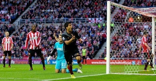 SUNDERLAND, ENGLAND - Saturday, September 15, 2012: Liverpool's Luis Alberto Suarez Diaz celebrates scoring the equalising goal against Sunderland during the Premiership match at the Stadium of Light. (Pic by Vegard Grott/Propaganda)