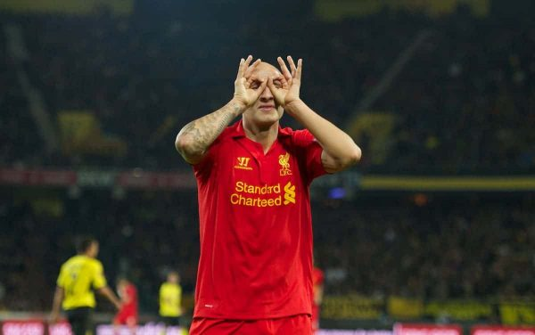 BERNE, SWITZERLAND - Thursday, September 20, 2012: Liverpool's Jonjo Shelvey celebrates scoring the fifth goal against BSC Young Boys during the UEFA Europa League Group A match at the Wankdorf Stadion. (Pic by David Rawcliffe/Propaganda)