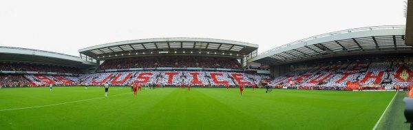 LIVERPOOL, ENGLAND - Sunday, September 23, 2012: Liverpool supporters form a mosaic on the Centenary Stand calling for Justice for the 96 victims of the Hillsborough Stadium Disaster before the Premiership match against Manchester United at Anfield. (Pic by David Rawcliffe/Propaganda)