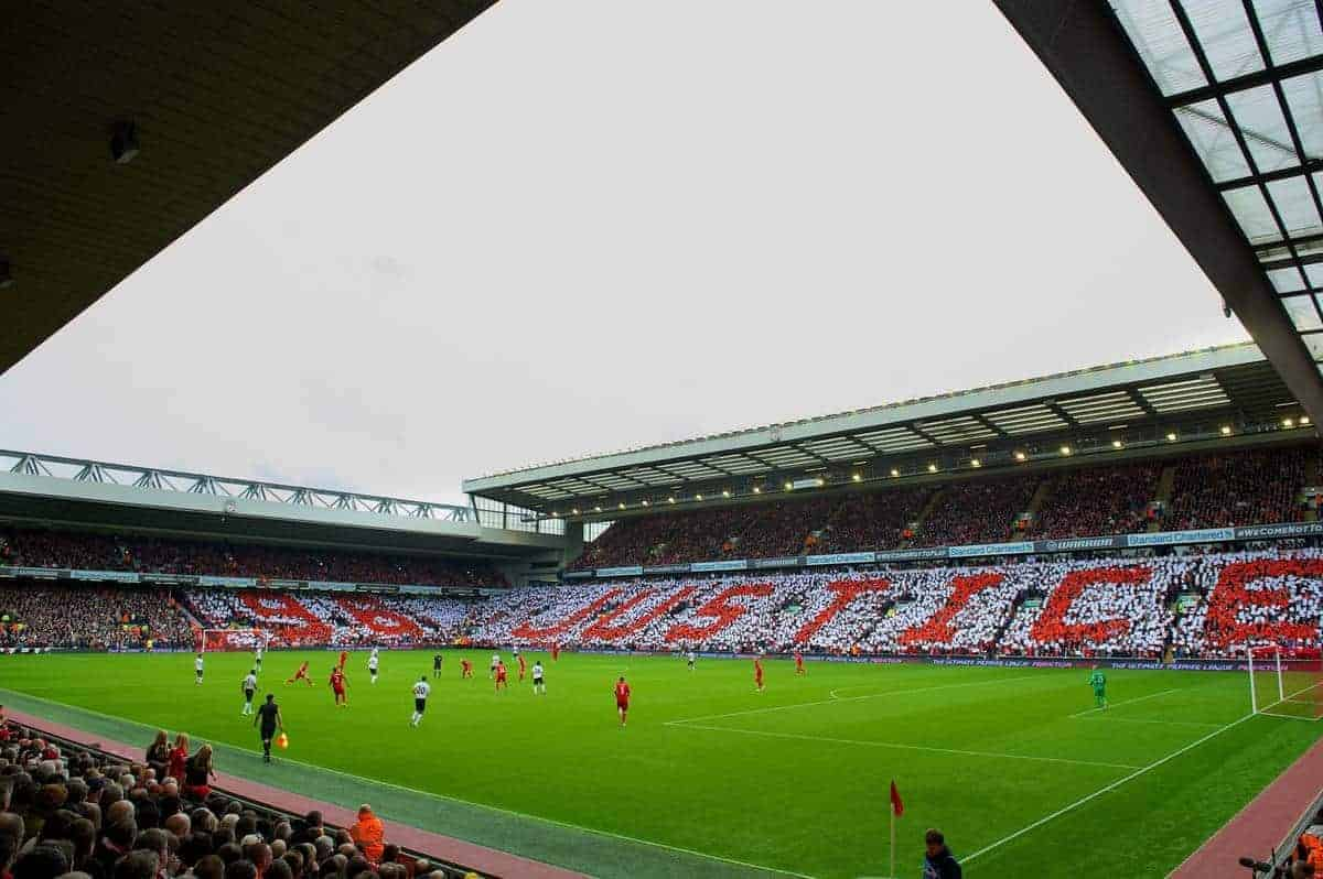LIVERPOOL, ENGLAND - Sunday, September 23, 2012: Liverpool supporters form a mosaic on the Anfield Road and Centenary Stands calling for Justice for the 96 victims of the Hillsborough Stadium Disaster before the Premiership match against Manchester United at Anfield. (Pic by David Rawcliffe/Propaganda)