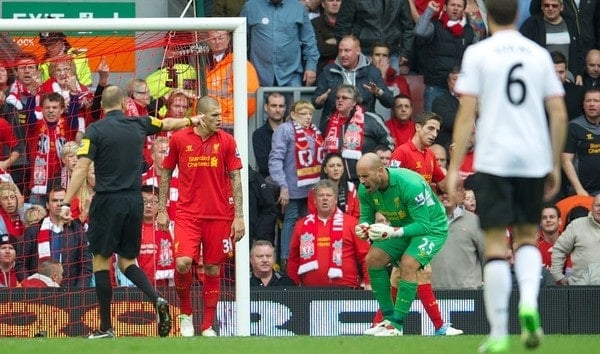 LIVERPOOL, ENGLAND - Sunday, September 23, 2012: Liverpool's goalkeeper Jose Reina reacts in disbelief as referee Mark Halsey awards Manchester United a highly dubious penalty to gift the side three points during the Premiership match at Anfield. (Pic by David Rawcliffe/Propaganda)