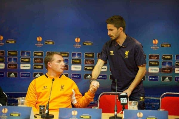 LIVERPOOL, ENGLAND - Wednesday, October 3, 2012: Liverpool's manager Brendan Rodgers and Fabio Borini during a press conference at Anfield ahead of the UEFA Europa League Group A match against Udinese Calcio. (Pic by David Rawcliffe/Propaganda)