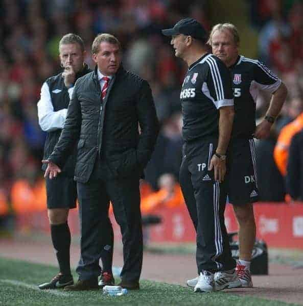 LIVERPOOL, ENGLAND - Sunday, October 7, 2012: Liverpool's manager Brendan Rodgers argues with Stoke City's manager Tony Pulis during the Premiership match at Anfield. (Pic by David Rawcliffe/Propaganda)