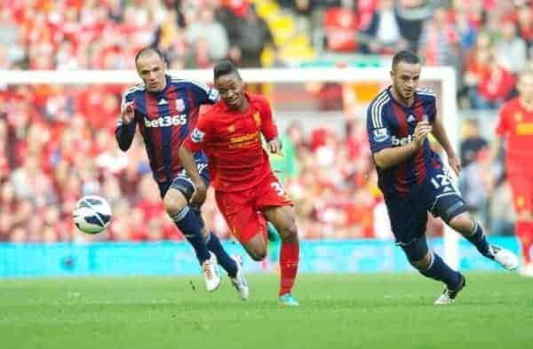LIVERPOOL, ENGLAND - Sunday, October 7, 2012: Liverpool's Raheem Sterling in action against Stoke City during the Premiership match at Anfield. (Pic by David Rawcliffe/Propaganda)