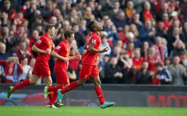 LIVERPOOL, ENGLAND - Saturday, October 20, 2012: Liverpool's Raheem Sterling celebrates scoring the first goal against Reading during the Premiership match at Anfield. (Pic by David Rawcliffe/Propaganda)