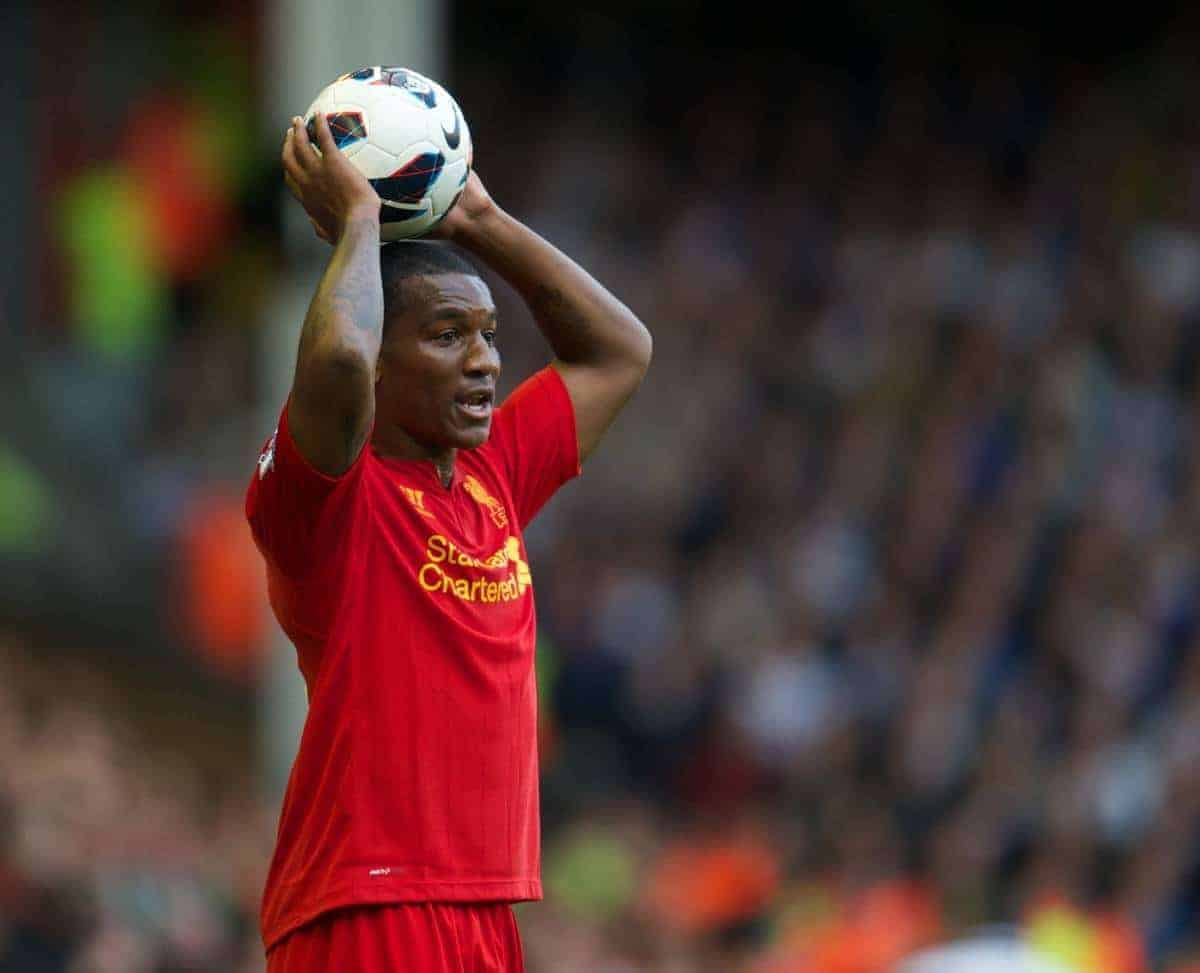 LIVERPOOL, ENGLAND - Saturday, October 20, 2012: Liverpool's Andre Wisdom in action against Reading during the Premiership match at Anfield. (Pic by David Rawcliffe/Propaganda)
