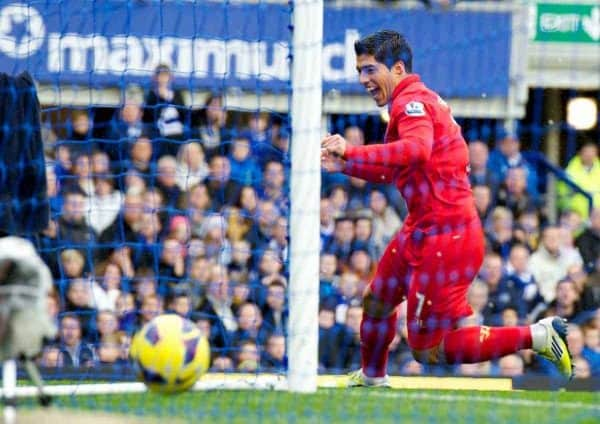 LIVERPOOL, ENGLAND - Sunday, October 28, 2012: Liverpool's Luis Alberto Suarez Diaz celebrates scoring the second goal against Everton during the 219th Merseyside Derby match at Goodison Park. (Pic by David Rawcliffe/Propaganda)