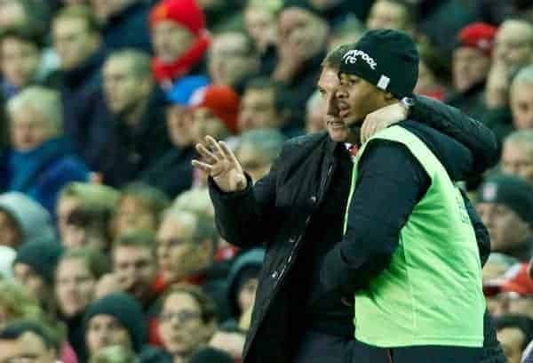 Liverpool's manager Brendan Rodgers and Raheem Sterling during the Football League Cup 4th Round match against Swansea City at Anfield. (Pic by David Rawcliffe/Propaganda)