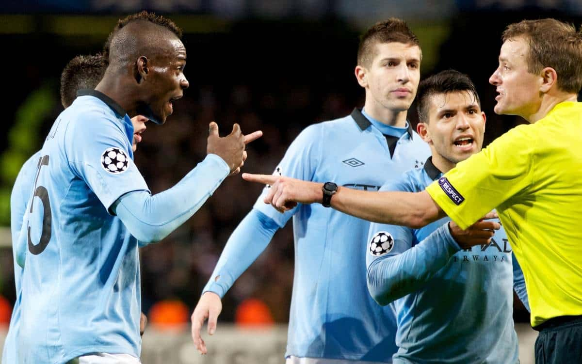 MANCHESTER, ENGLAND - Tuesday, November 6, 2012: Manchester City's Mario Balotelli, Samir Nasri, Sergio Aguero and Matija Nastasic complain at referee Peter Rasmussen after the UEFA Champions League Group D match against AFC Ajax at City of Manchester Stadium. (Pic by Vegard Grott/Propaganda)