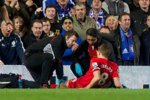 LONDON, ENGLAND - Sunday, November 11, 2012: Liverpool's captain Steven Gerrard lies injured during the Premiership match against Chelsea at Stamford Bridge. (Pic by David Rawcliffe/Propaganda)
