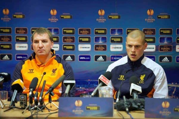LIVERPOOL, ENGLAND - Wednesday, November 21, 2012: Liverpool's manager Brendan Rodgers and Martin Skrtel during a press conference at Anfield ahead of the UEFA Europa League Group A match against BSC Young Boys. (Pic by David Rawcliffe/Propaganda)