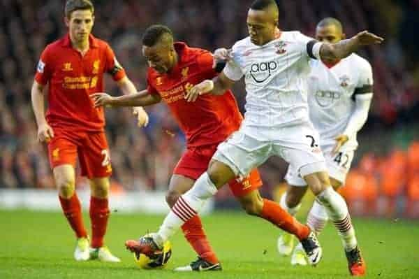 LIVERPOOL, ENGLAND - Saturday, December 1, 2012: Liverpool's Raheem Sterling in action against Southampton's Nathaniel Clyne during the Premiership match at Anfield. (Pic by David Rawcliffe/Propaganda)