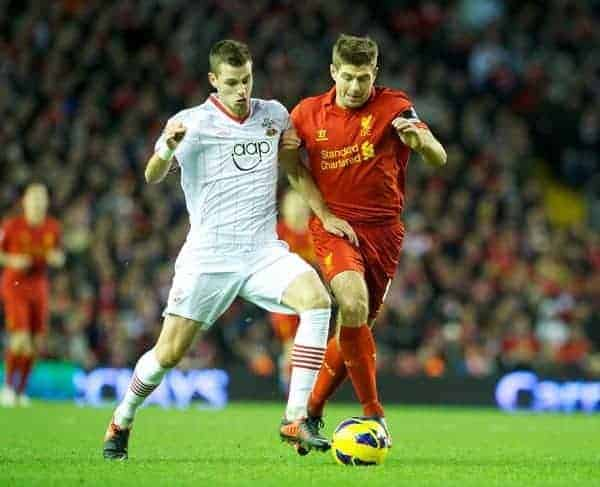 LIVERPOOL, ENGLAND - Saturday, December 1, 2012: Liverpool's captain Steven Gerrard in action against Southampton's Morgan Schneiderlin during the Premiership match at Anfield. (Pic by David Rawcliffe/Propaganda)