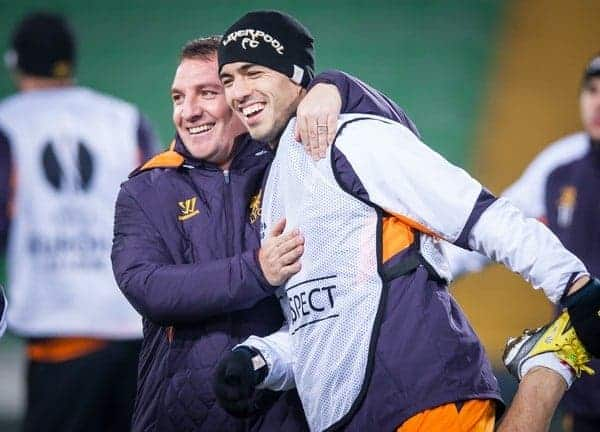 05.12.2012, Stadio Friuli, Udine, ITA, UEFA EL, Udinese Calcio vs FC Liverpool, Gruppe A, Training, FC Liverpool, im Bild Brendan Rodgers (Trainer, Liverpool FC), Luis Suarez (# 07, Liverpool FC) // Brendan Rodgers (Trainer, Liverpool FC), Luis Suarez (# 07, Liverpool FC) during Training of Liverpool FC before the UEFA Europa League group A match between Udinese Calcio and Liverpool FC at the Stadio Friuli, Udinese, Italy on 2012/12/05. EXPA Pictures © 2012, PhotoCredit: EXPA/ Juergen Feichter