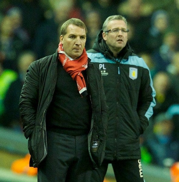 LIVERPOOL, ENGLAND - Saturday, December 15, 2012: Liverpool's manager Brendan Rodgers and Aston Villa's manager Paul Lambert during the Premiership match at Anfield. (Pic by David Rawcliffe/Propaganda)