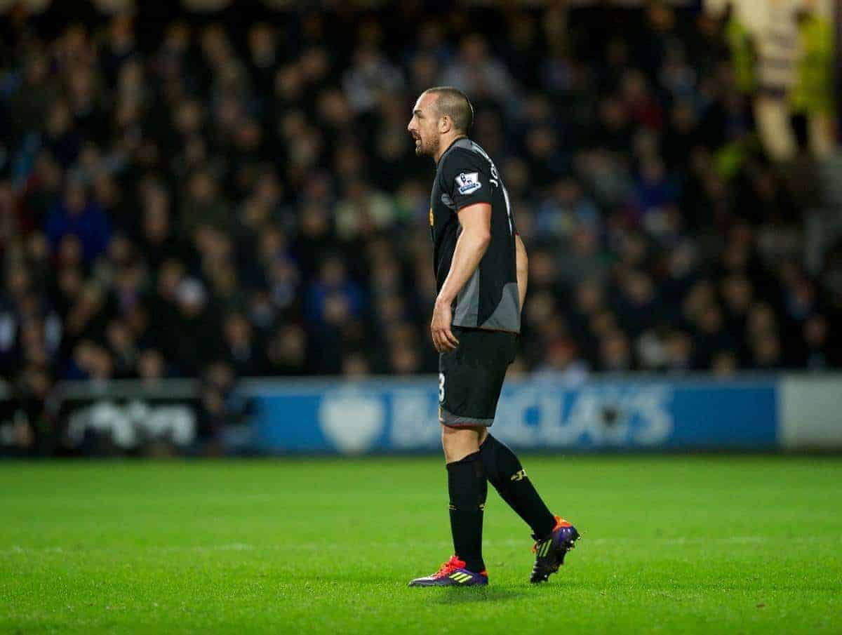 LONDON, ENGLAND - Sunday, December 30, 2012: Liverpool's Jose Enrique limps off injured with a suspected hamstring injury during the Premiership match against Queens Park Rangers at Loftus Road. (Pic by David Rawcliffe/Propaganda)