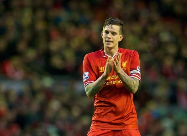 LIVERPOOL, ENGLAND - Wednesday, January 1, 2014: Liverpool's Daniel Agger celebrates scoring the first goal against Hull City during the Premiership match at Anfield. (Pic by David Rawcliffe/Propaganda)