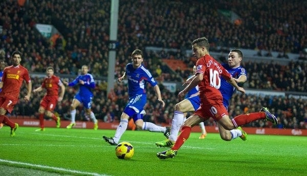 LIVERPOOL, ENGLAND - Wednesday, January 1, 2014: Liverpool's Philippe Coutinho Correia in action against Hull City during the Premiership match at Anfield. (Pic by David Rawcliffe/Propaganda)