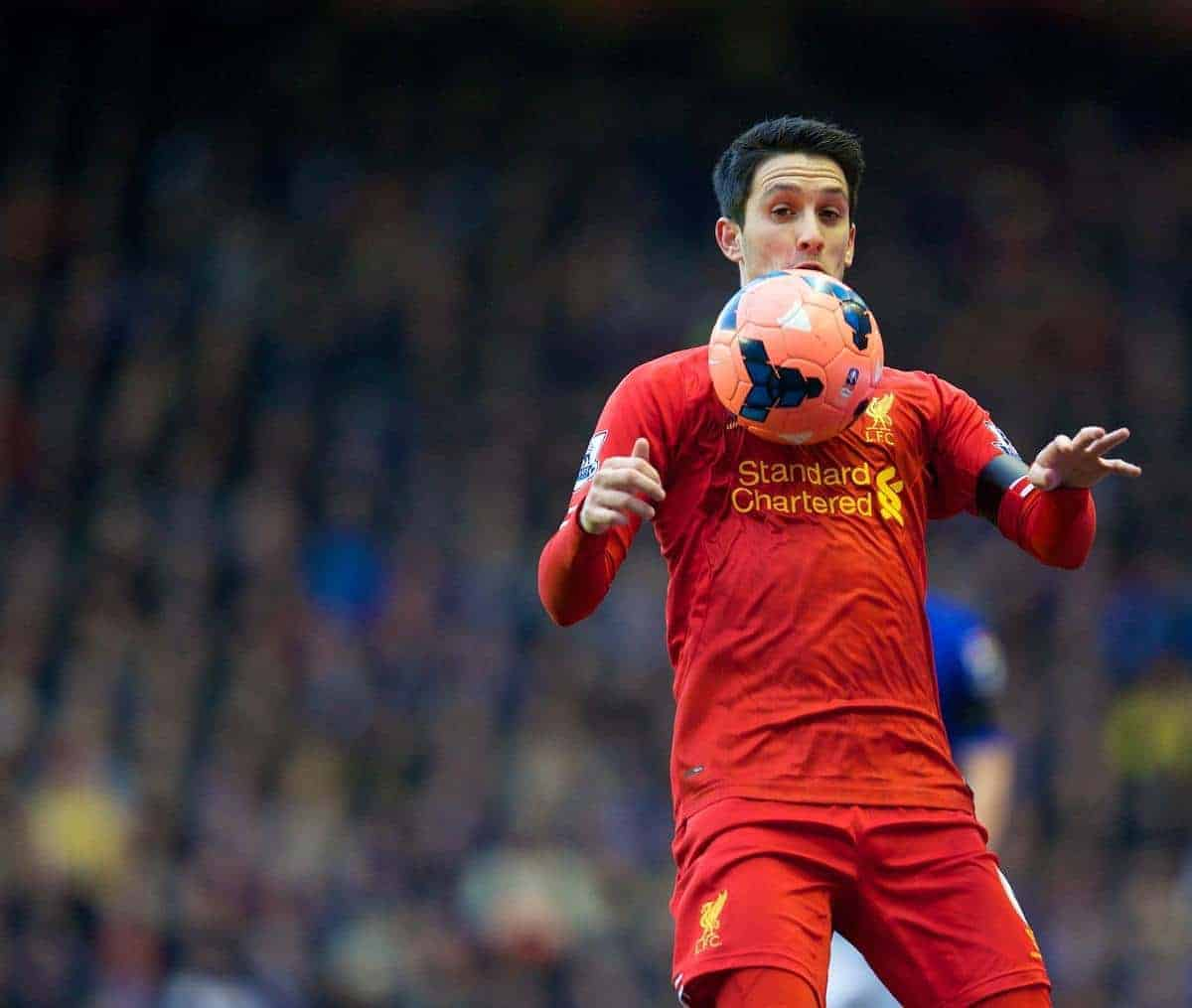 LIVERPOOL, ENGLAND - Sunday, January 5, 2014: Liverpool's Luis Alberto in action against Oldham Athletic during the FA Cup 3rd Round match at Anfield. (Pic by David Rawcliffe/Propaganda)