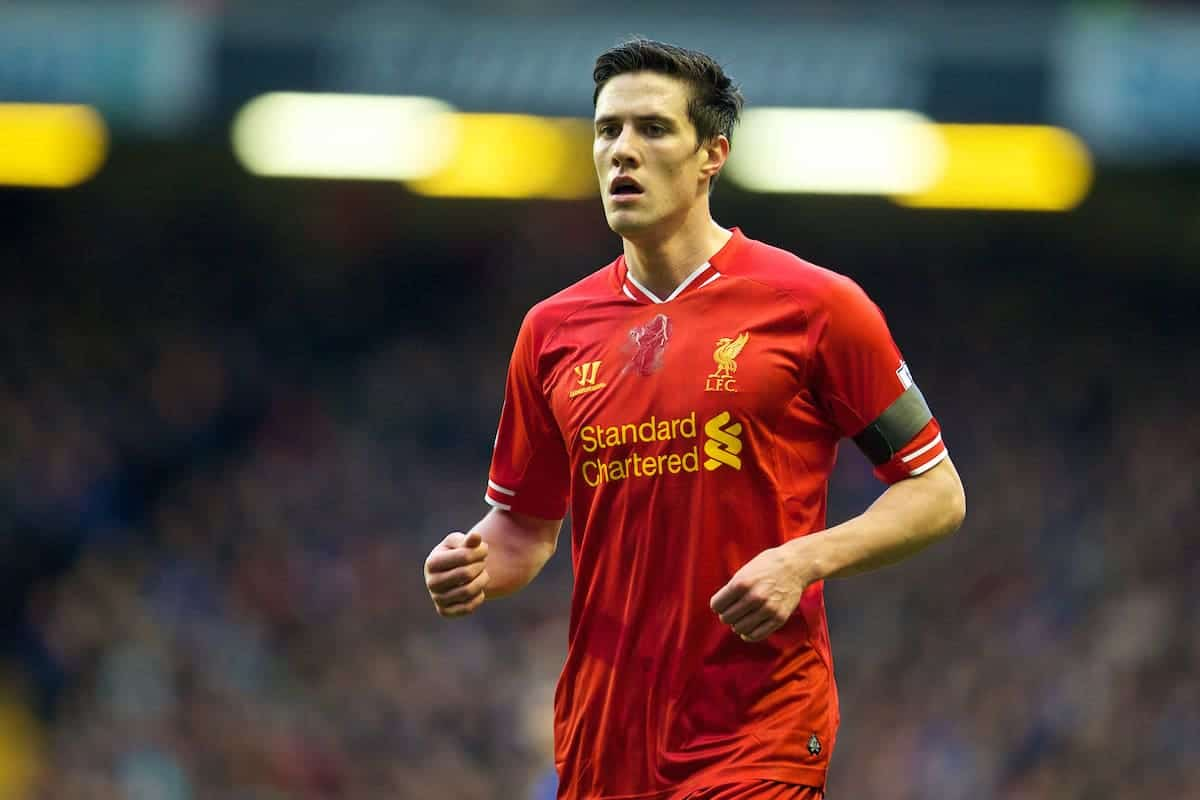 LIVERPOOL, ENGLAND - Sunday, January 5, 2014: Liverpool's Martin Kelly in action against Oldham Athletic during the FA Cup 3rd Round match at Anfield. (Pic by David Rawcliffe/Propaganda)