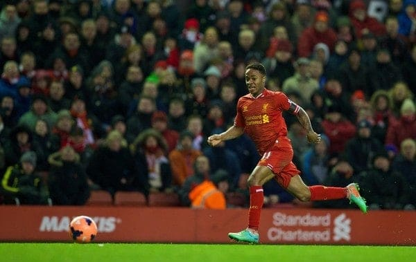 LIVERPOOL, ENGLAND - Sunday, January 5, 2014: Liverpool's Raheem Sterling in action against Oldham Athletic during the FA Cup 3rd Round match at Anfield. (Pic by David Rawcliffe/Propaganda)