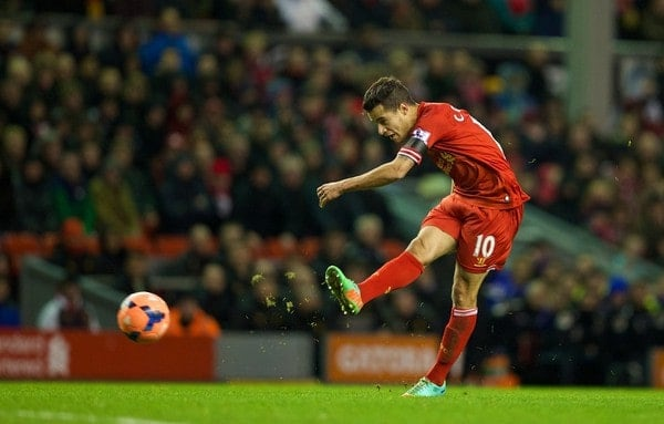 LIVERPOOL, ENGLAND - Sunday, January 5, 2014: Liverpool's Philippe Coutinho Correia in action against Oldham Athletic during the FA Cup 3rd Round match at Anfield. (Pic by David Rawcliffe/Propaganda)