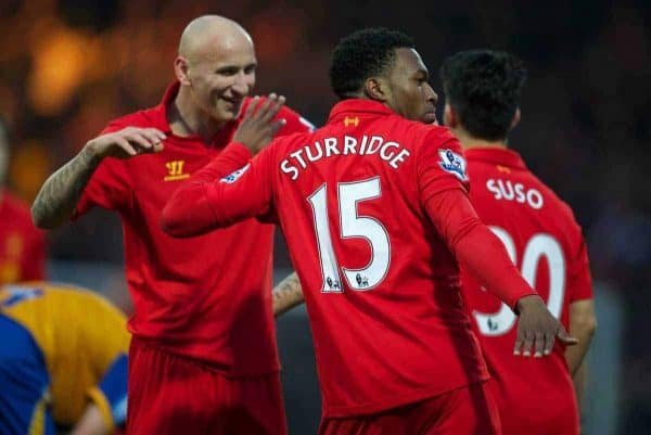 MANSFIELD, ENGLAND - Sunday, January 6, 2013: Liverpool's Daniel Sturridge celebrates scoring the first goal against Mansfield Town by dancing with team-mate Jonjo Shelvey during the FA Cup 3rd Round match at Field Mill. (Pic by David Rawcliffe/Propaganda)
