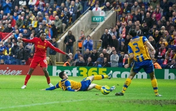 MANSFIELD, ENGLAND - Sunday, January 6, 2013: Liverpool's new signing Daniel Sturridge in action on his debut during the FA Cup 3rd Round match against Mansfield Town at Field Mill. (Pic by David Rawcliffe/Propaganda)