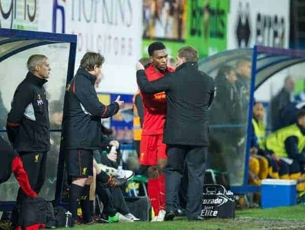 MANSFIELD, ENGLAND - Sunday, January 6, 2013: Liverpool's new signing Daniel Sturridge is congratulated by manager Brendan Rodgers after his goal helped the Reds to a 2-1 victory over Mansfield Town during the FA Cup 3rd Round match at Field Mill. (Pic by David Rawcliffe/Propaganda)