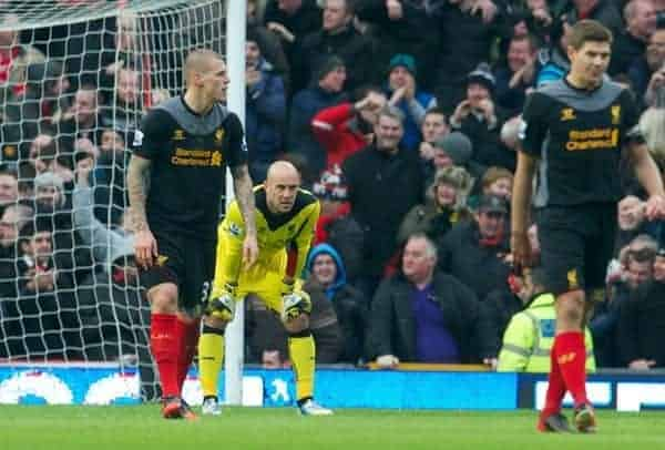 MANCHESTER, ENGLAND - Sunday, January 13, 2013: Liverpool's goalkeeper Jose Reina looks dejected as Manchester United score a second goal during the Premiership match at Old Trafford. (Pic by David Rawcliffe/Propaganda)