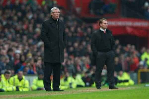 MANCHESTER, ENGLAND - Sunday, January 13, 2013: Manchester United's manager Alex Ferguson during the Premiership match against Liverpool at Old Trafford. (Pic by David Rawcliffe/Propaganda)