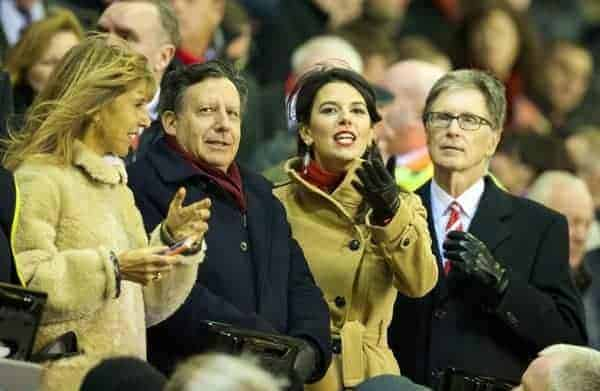 LIVERPOOL, ENGLAND - Saturday, January 18, 2014: Liverpool's owner John W. Henry, wife Linda Pizzuti and co-owner and NESV Chairman Tom Werner before the Premiership match against Aston Villa at Anfield. (Pic by David Rawcliffe/Propaganda)