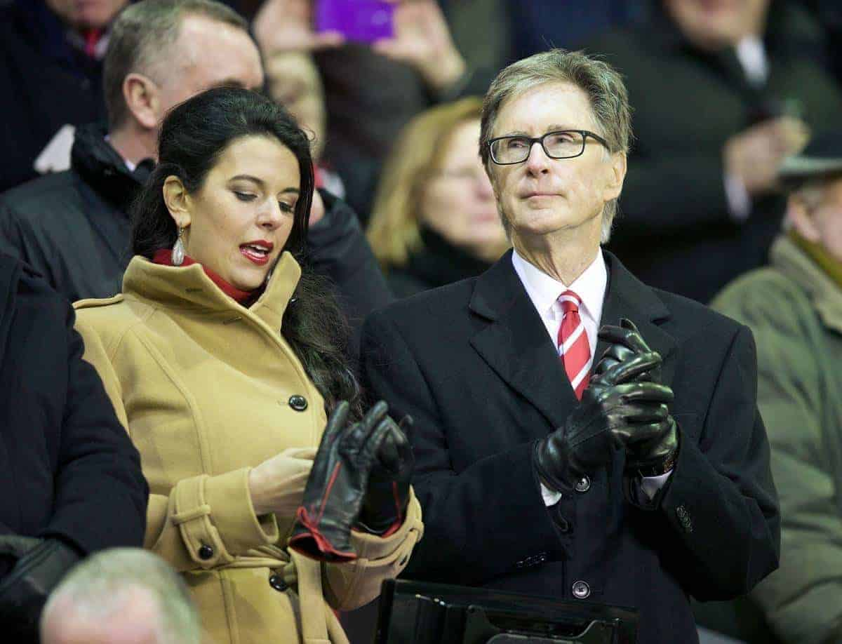 LIVERPOOL, ENGLAND - Saturday, January 18, 2014: Liverpool's owner John W. Henry and wife Linda Pizzuti before the Premiership match against Aston Villa at Anfield. (Pic by David Rawcliffe/Propaganda)