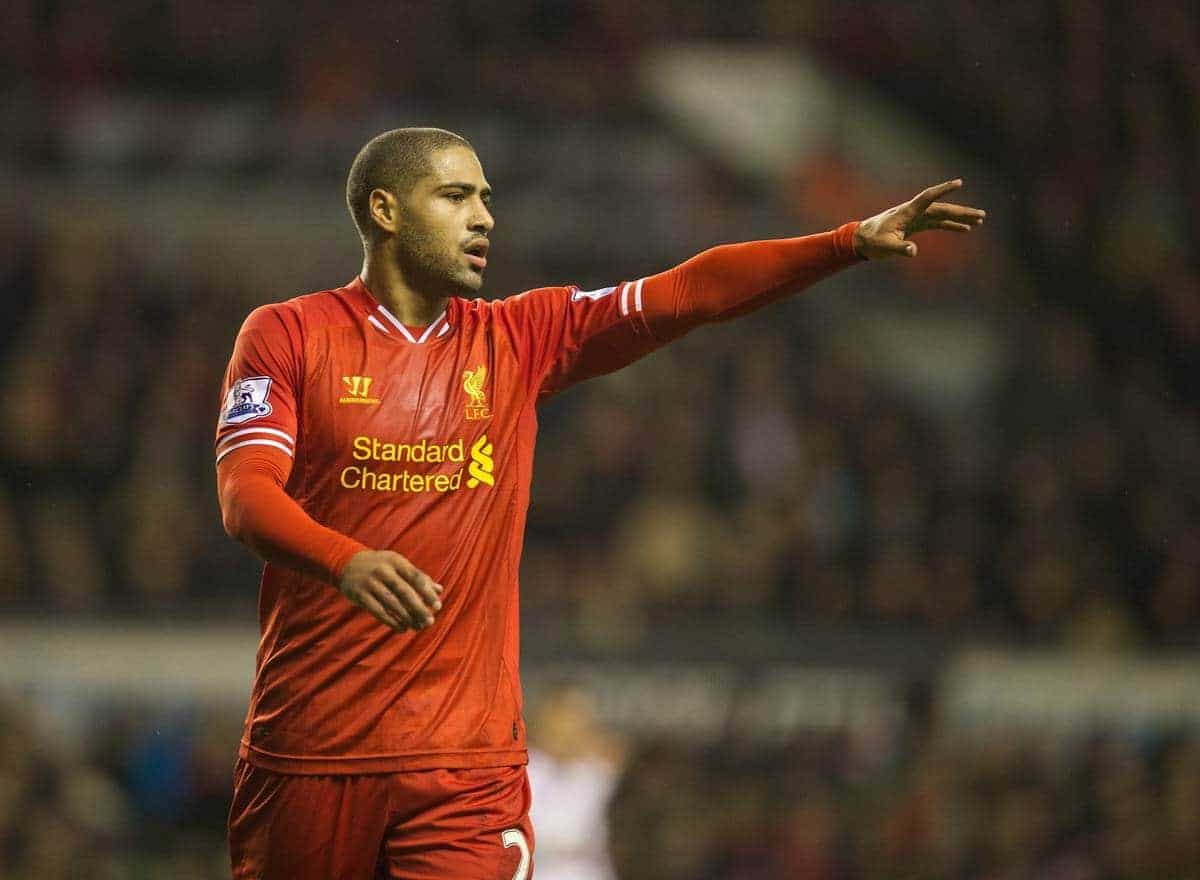 LIVERPOOL, ENGLAND - Saturday, January 18, 2014: Liverpool's Glen Johnson in action against Aston Villa during the Premiership match at Anfield. (Pic by David Rawcliffe/Propaganda)