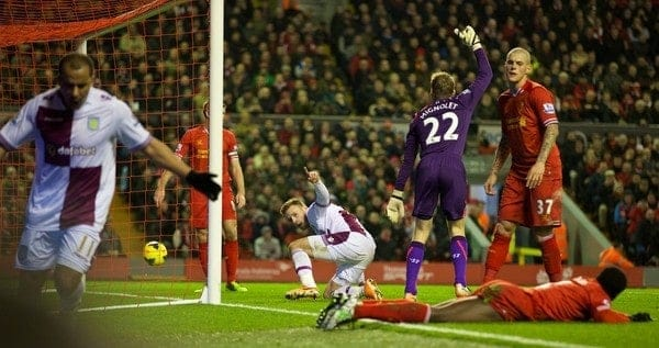LIVERPOOL, ENGLAND - Saturday, January 18, 2014: Aston Villa's Andreas Weimann celebrates scoring the first goal against Liverpool during the Premiership match at Anfield. (Pic by David Rawcliffe/Propaganda)