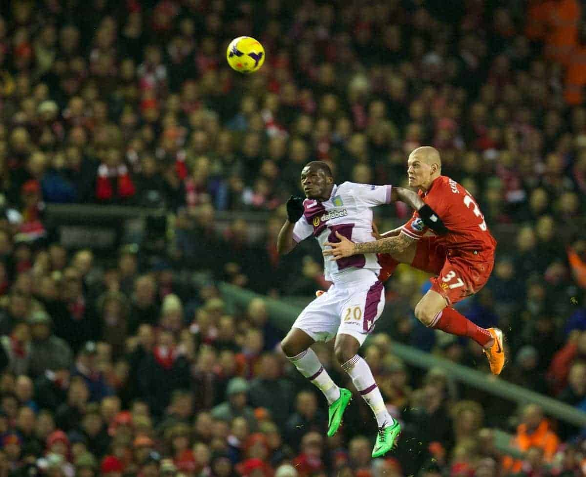 LIVERPOOL, ENGLAND - Saturday, January 18, 2014: Liverpool's Martin Skrtel in action against Aston Villa's Christian Benteke during the Premiership match at Anfield. (Pic by David Rawcliffe/Propaganda)