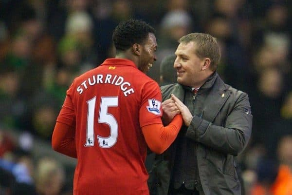LIVERPOOL, ENGLAND - Saturday, January 19, 2013: Liverpool's new signing Daniel Sturridge and manager Brendan Rodgers during the Premiership match against Norwich City at Anfield. (Pic by David Rawcliffe/Propaganda)
