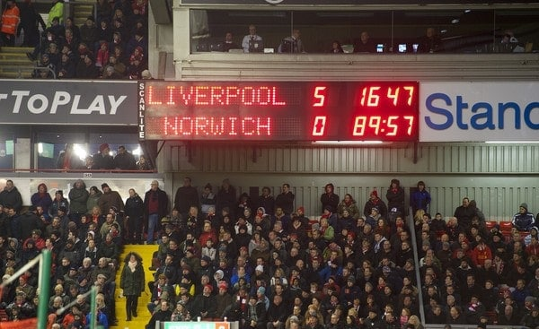 LIVERPOOL, ENGLAND - Saturday, January 19, 2013: Liverpool's scoreboard records the 5-0 victory over against Norwich City during the Premiership match at Anfield. (Pic by David Rawcliffe/Propaganda)