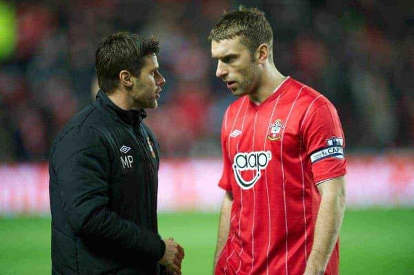 SOUTHAMPTON, ENGLAND - Monday, January 21, 2013: Southampton's manager Mauricio Pochettino with captain Rickie Lambert before the Premiership match against Everton at St. Mary's Stadium. (Pic by David Rawcliffe/Propaganda)
