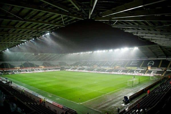 A general view of Swansea City's Liberty Stadium as snow falls before the Football League Cup Semi-Final 2nd Leg match against Chelsea. (Pic by David Rawcliffe/Propaganda)