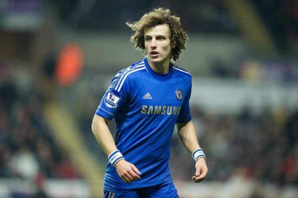 SWANSEA, WALES - Wednesday, January 23, 2013: Chelsea's David Luiz in action against Swansea City during the Football League Cup Semi-Final 2nd Leg match at the Liberty Stadium. (Pic by David Rawcliffe/Propaganda)