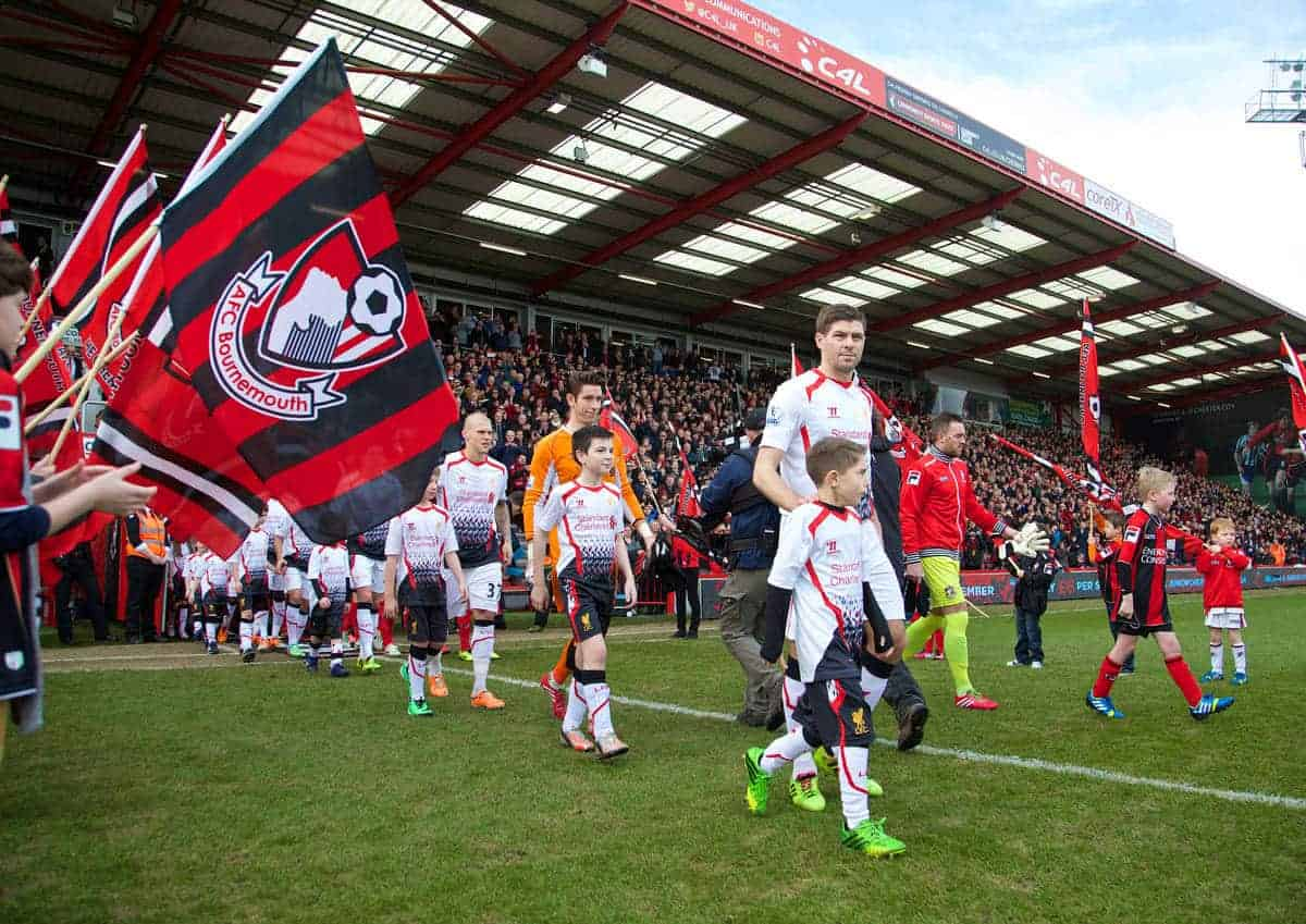 BOURNEMOUTH, ENGLAND - Saturday, January 25, 2014: Liverpool's captain Steven Gerrard leads his side out to face Bournemouth during the FA Cup 4th Round match at Dean Court. (Pic by David Rawcliffe/Propaganda)