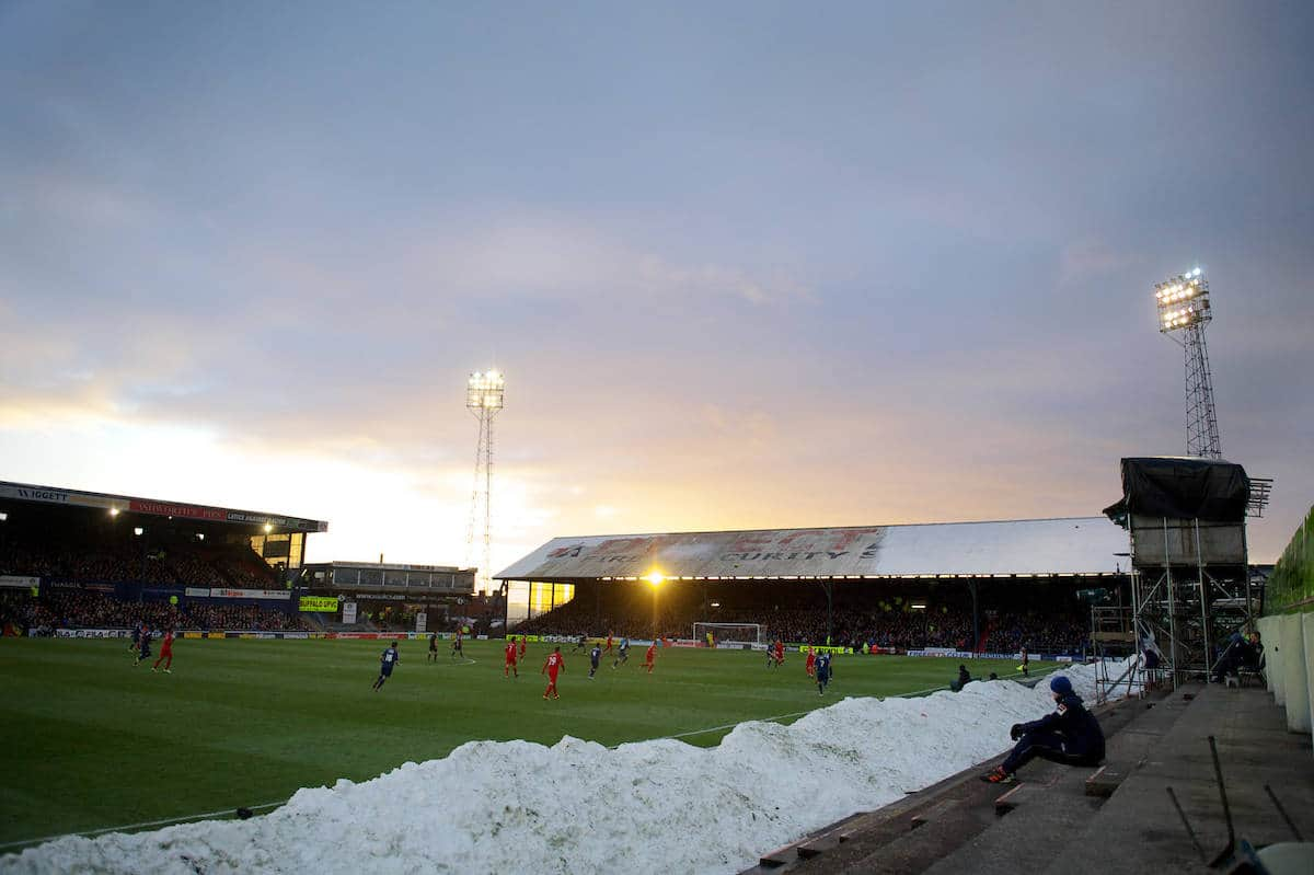 OLDHAM, ENGLAND - Sunday, January 27, 2013: The sun sets as Liverpool take on Oldham Athletic during the FA Cup 4th Round match at Boundary Park. (Pic by David Rawcliffe/Propaganda)