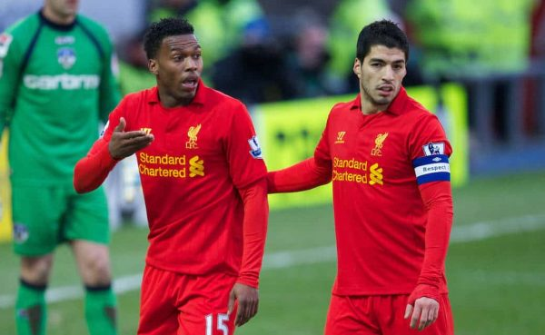 OLDHAM, ENGLAND - Sunday, January 27, 2013: Liverpool's captain new signing Daniel Sturridge and Luis Alberto Suarez Diaz in action against Oldham Athletic during the FA Cup 4th Round match at Boundary Park. (Pic by David Rawcliffe/Propaganda)