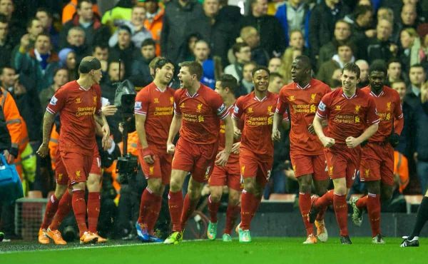 LIVERPOOL, ENGLAND - Tuesday, January 28, 2014: Liverpool's captain Steven Gerrard celebrates scoring the first goal against Everton during the 222nd Merseyside Derby Premiership match at Anfield. (Pic by David Rawcliffe/Propaganda)